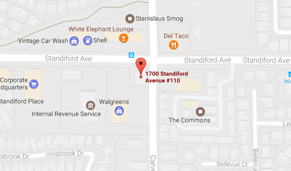 Map showing Modesto office location